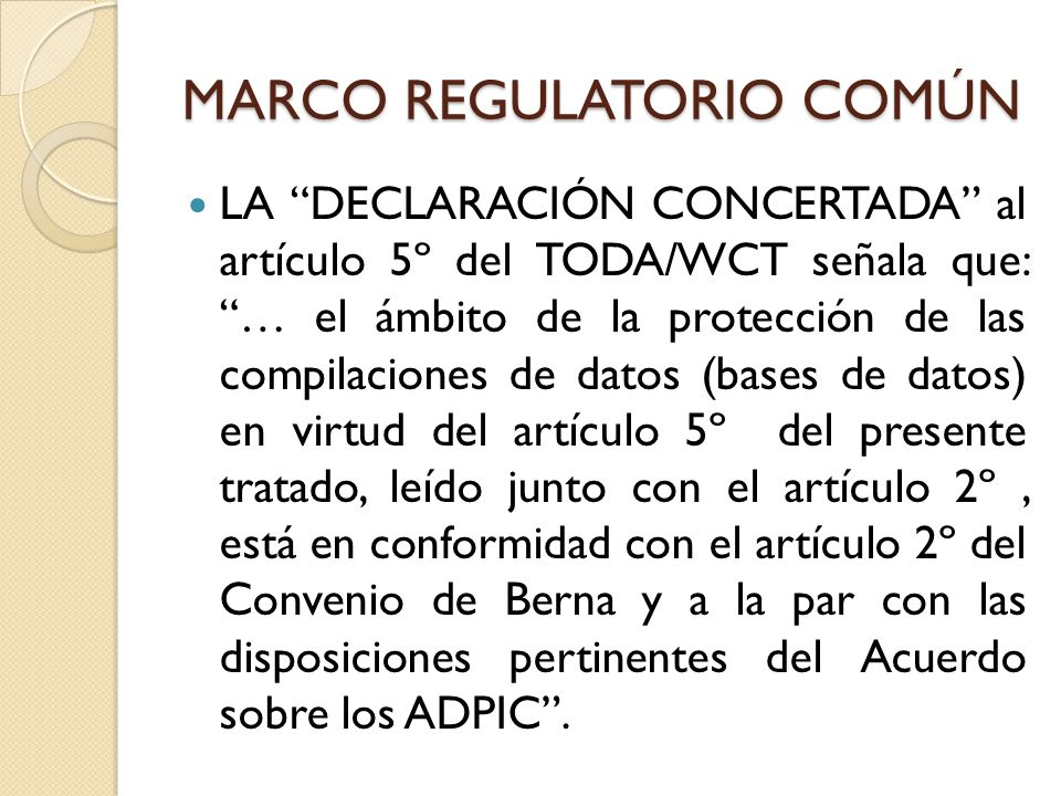 MARCO REGULATORIO COMÚN