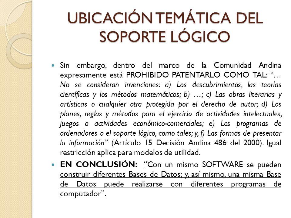 UBICACIÓN TEMÁTICA DEL SOPORTE LÓGICO