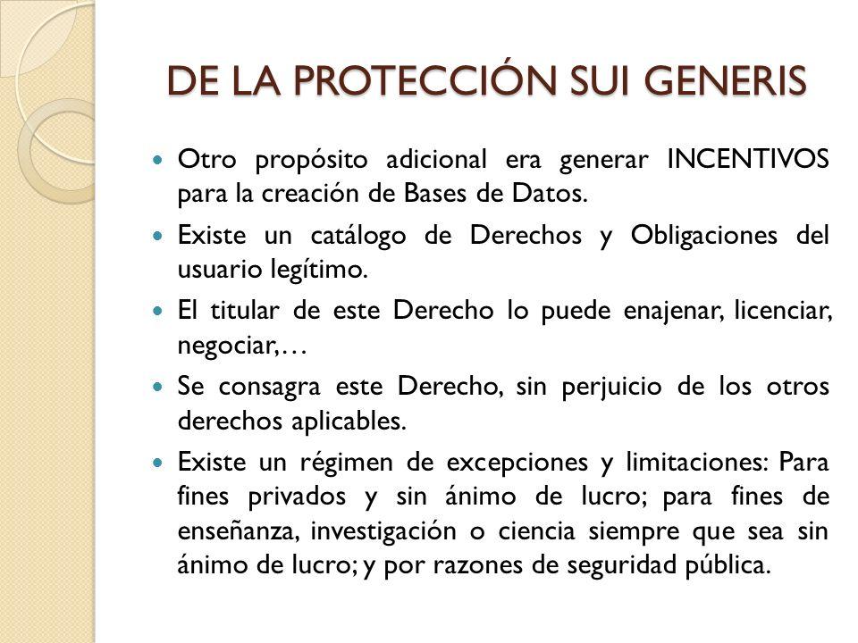 DE LA PROTECCIÓN SUI GENERIS