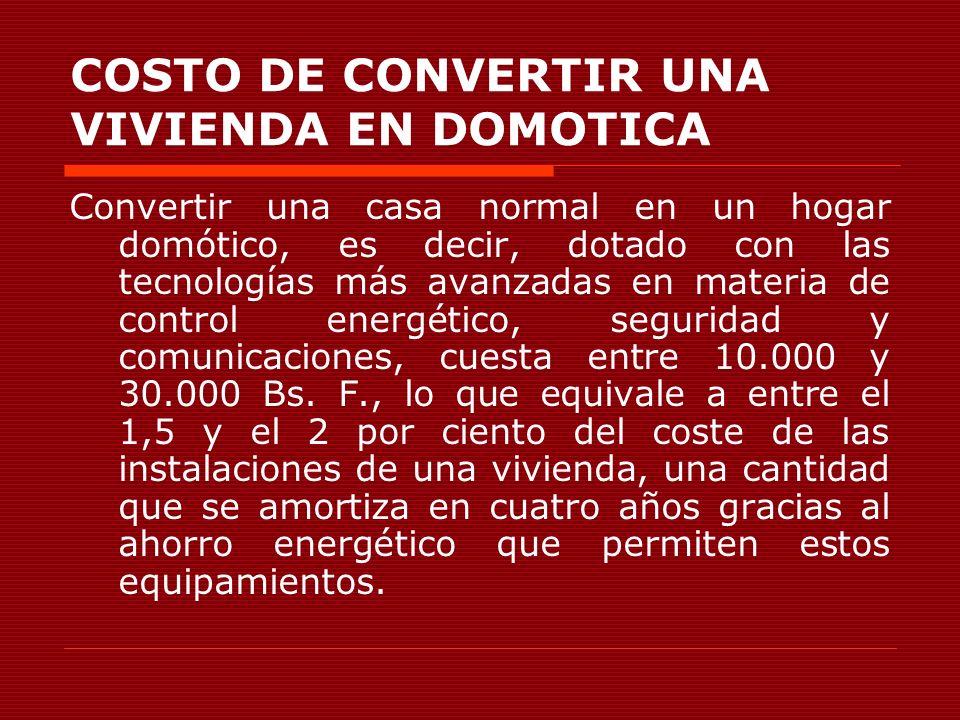 COSTO DE CONVERTIR UNA VIVIENDA EN DOMOTICA