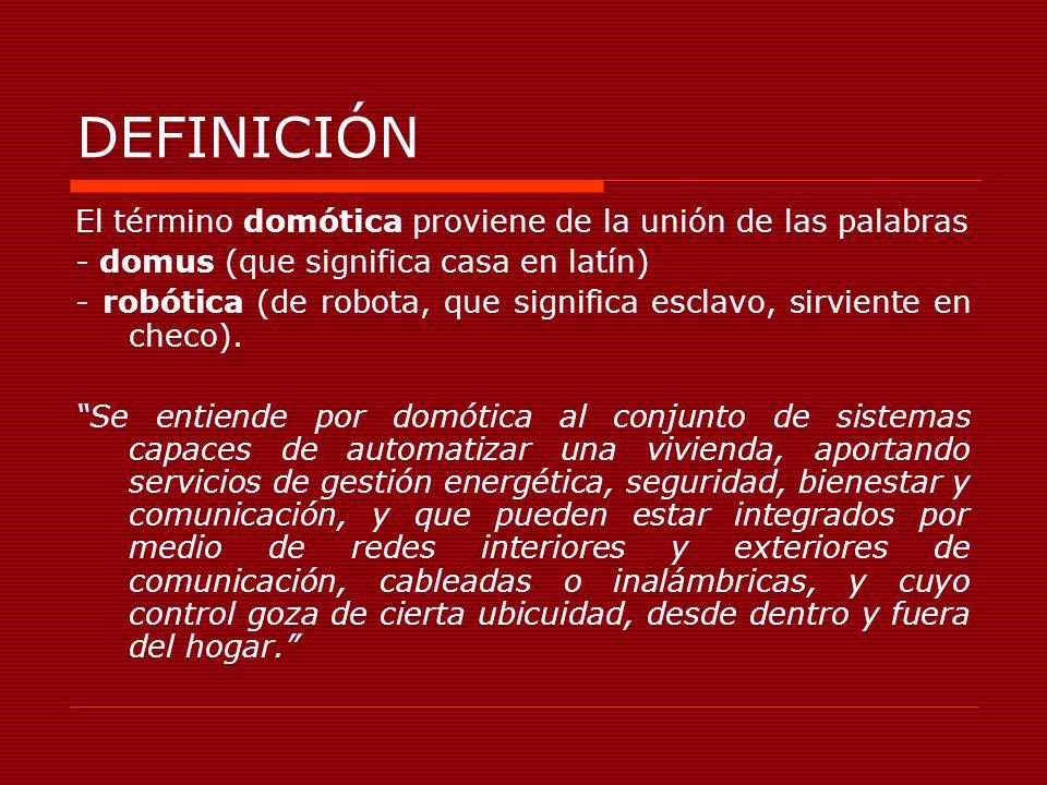 DEFINICIÓN El término domótica proviene de la unión de las palabras