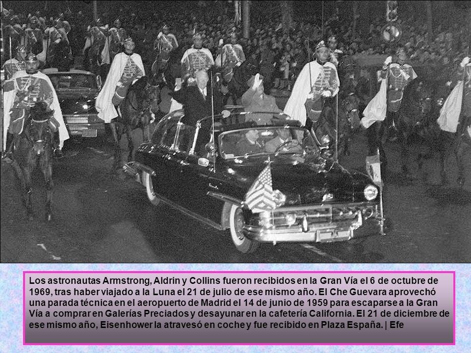 Los astronautas Armstrong, Aldrin y Collins fueron recibidos en la Gran Vía el 6 de octubre de 1969, tras haber viajado a la Luna el 21 de julio de ese mismo año.