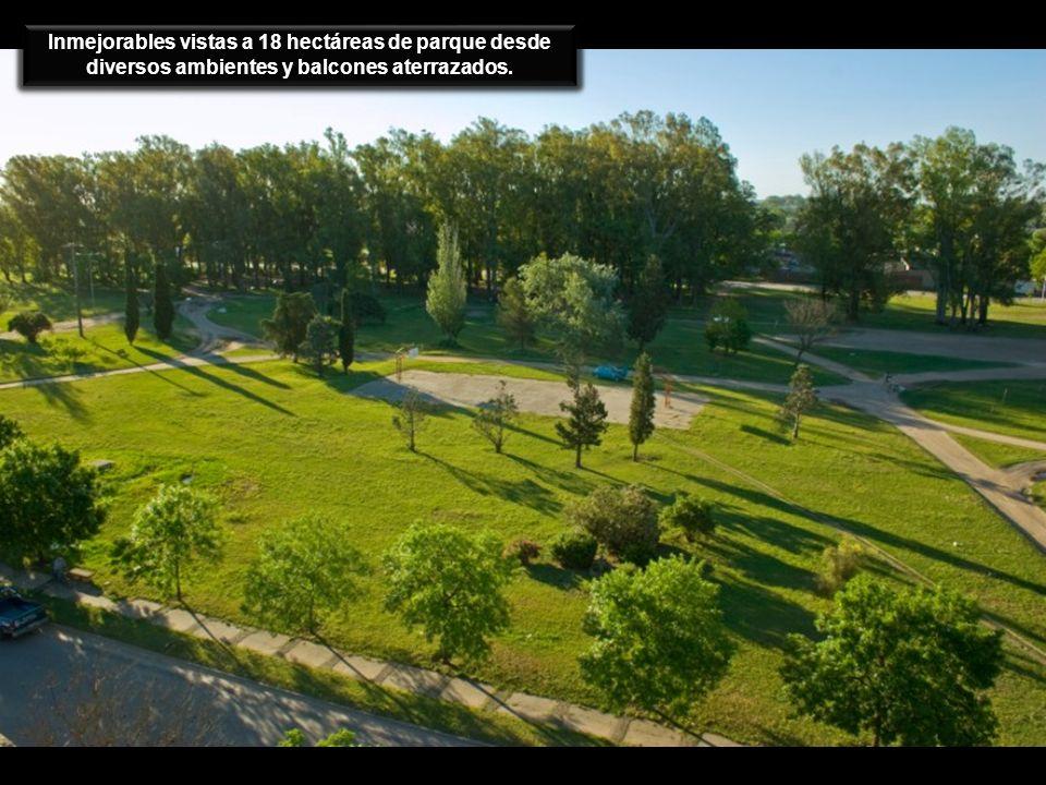 Inmejorables vistas a 18 hectáreas de parque desde diversos ambientes y balcones aterrazados.