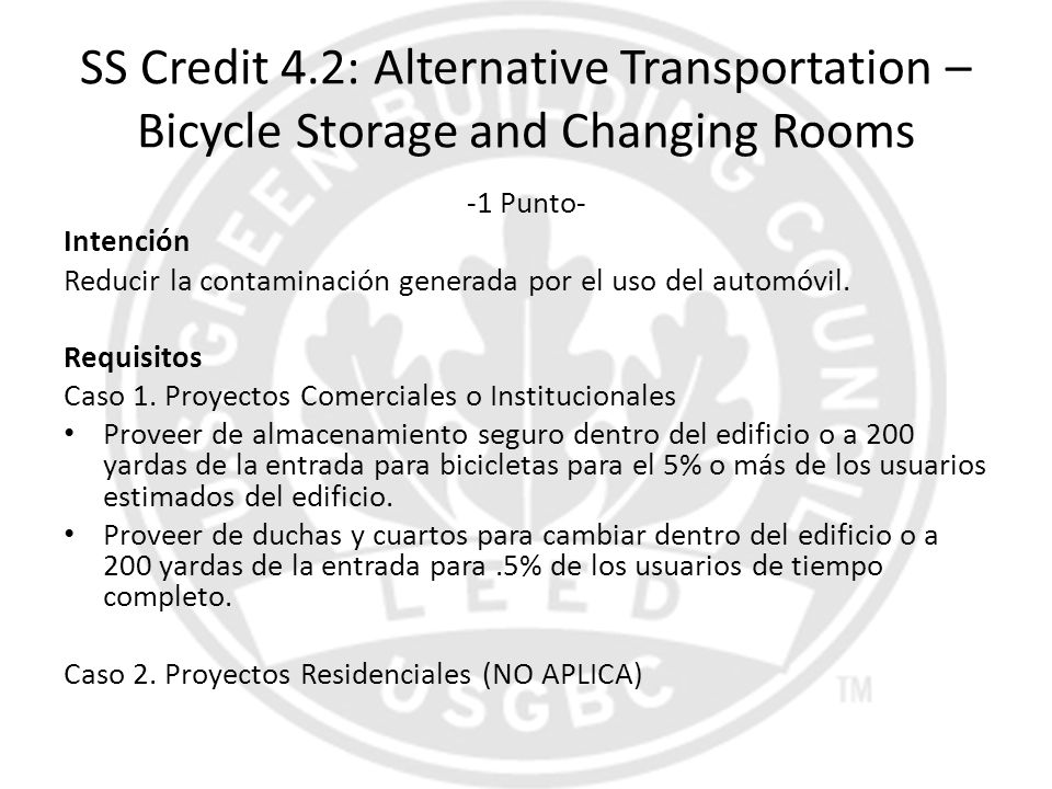 SS Credit 4.2: Alternative Transportation – Bicycle Storage and Changing Rooms