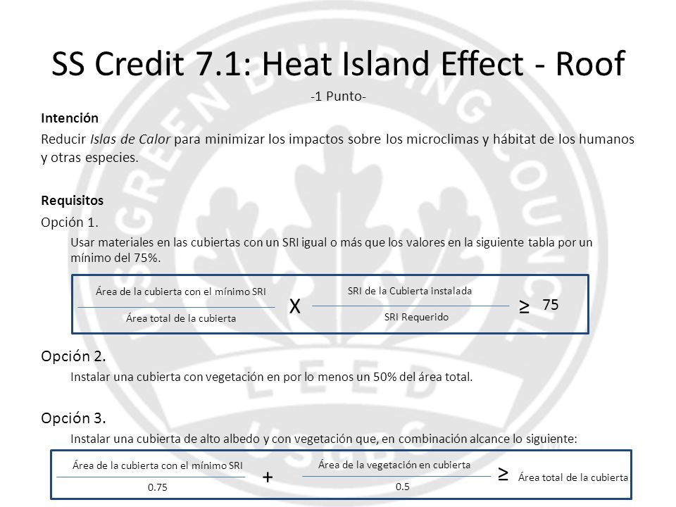 SS Credit 7.1: Heat Island Effect - Roof