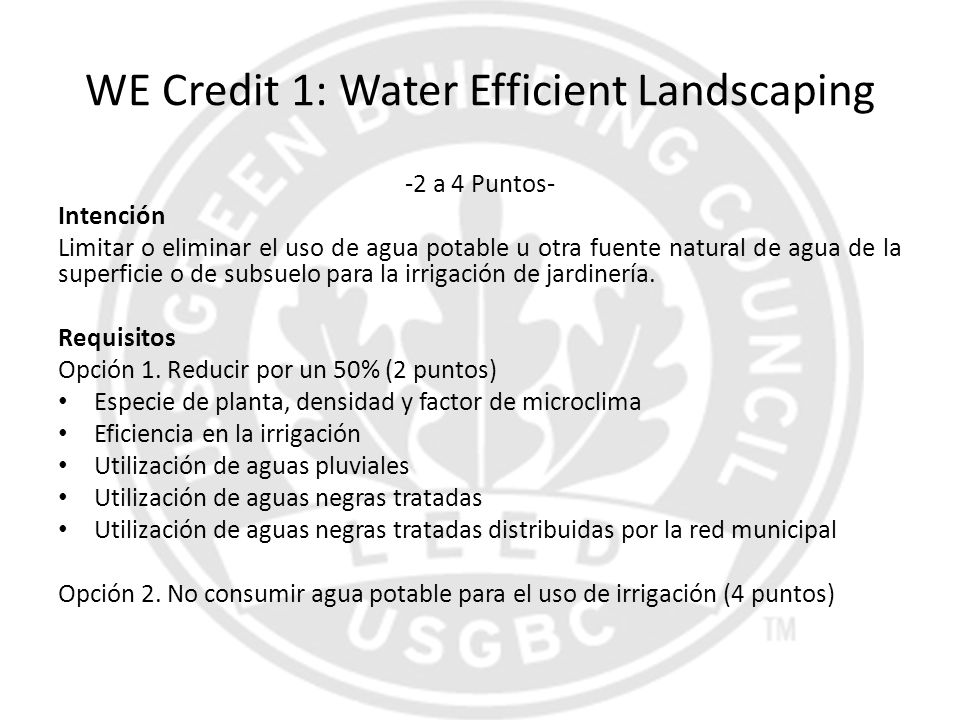 WE Credit 1: Water Efficient Landscaping