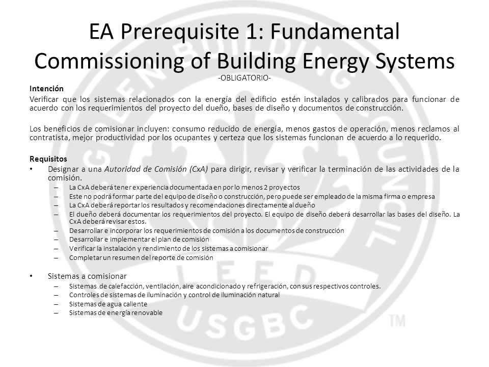 EA Prerequisite 1: Fundamental Commissioning of Building Energy Systems