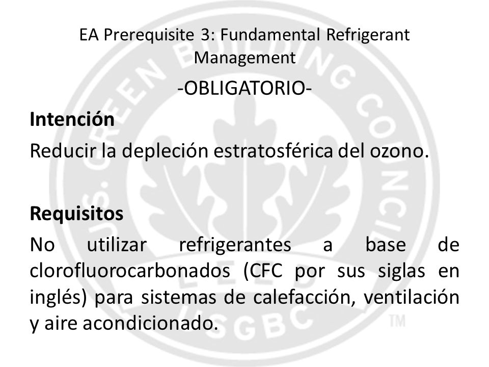 EA Prerequisite 3: Fundamental Refrigerant Management