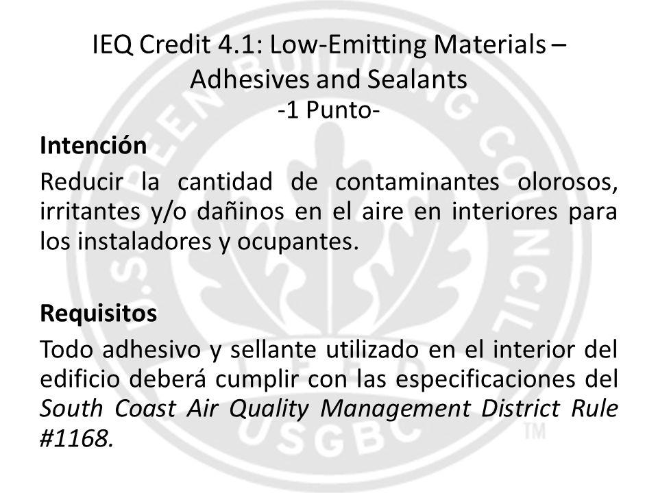 IEQ Credit 4.1: Low-Emitting Materials – Adhesives and Sealants