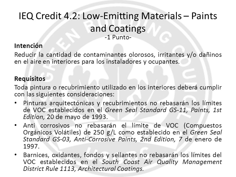 IEQ Credit 4.2: Low-Emitting Materials – Paints and Coatings