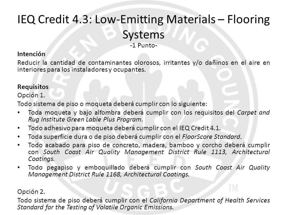 IEQ Credit 4.3: Low-Emitting Materials – Flooring Systems