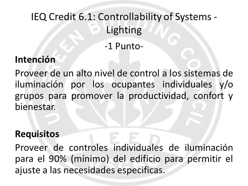 IEQ Credit 6.1: Controllability of Systems - Lighting