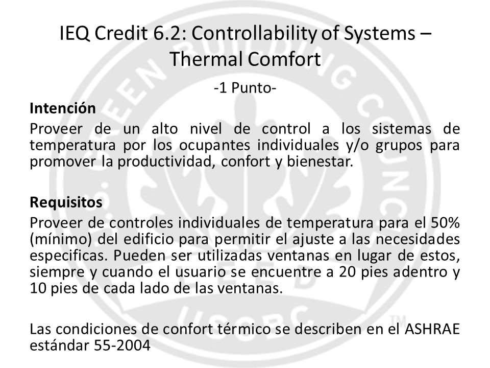 IEQ Credit 6.2: Controllability of Systems – Thermal Comfort