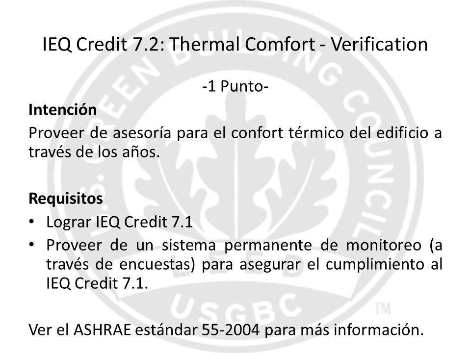 IEQ Credit 7.2: Thermal Comfort - Verification