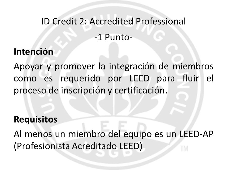 ID Credit 2: Accredited Professional