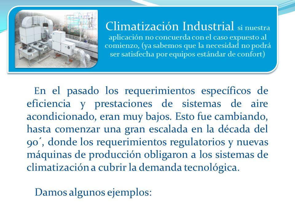 Climatización Industrial si nuestra aplicación no concuerda con el caso expuesto al comienzo, (ya sabemos que la necesidad no podrá ser satisfecha por equipos estándar de confort)