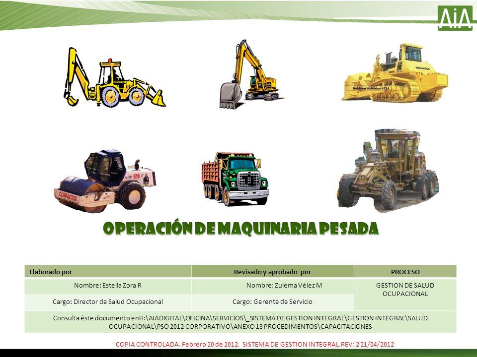 OPERACIÓN DE MAQUINARIA PESADA Revisado y aprobado por
