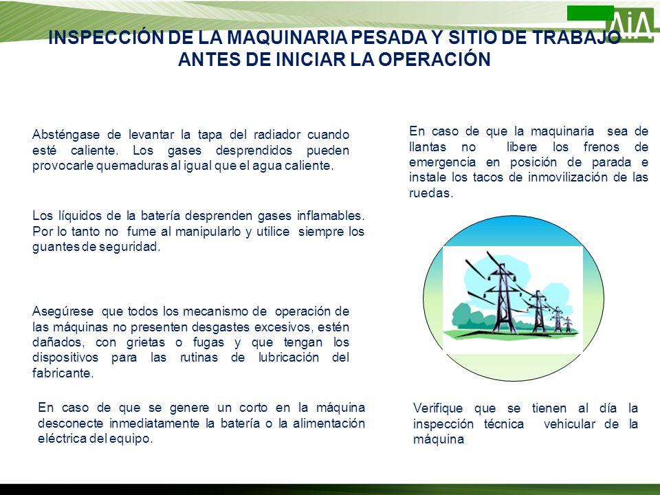INSPECCIÓN DE LA MAQUINARIA PESADA Y SITIO DE TRABAJO ANTES DE INICIAR LA OPERACIÓN
