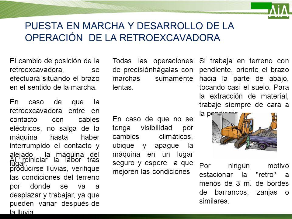 PUESTA EN MARCHA Y DESARROLLO DE LA OPERACIÓN DE LA RETROEXCAVADORA