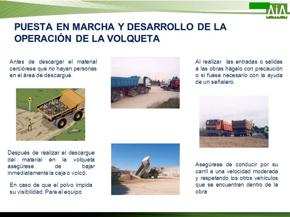 PUESTA EN MARCHA Y DESARROLLO DE LA OPERACIÓN DE LA VOLQUETA