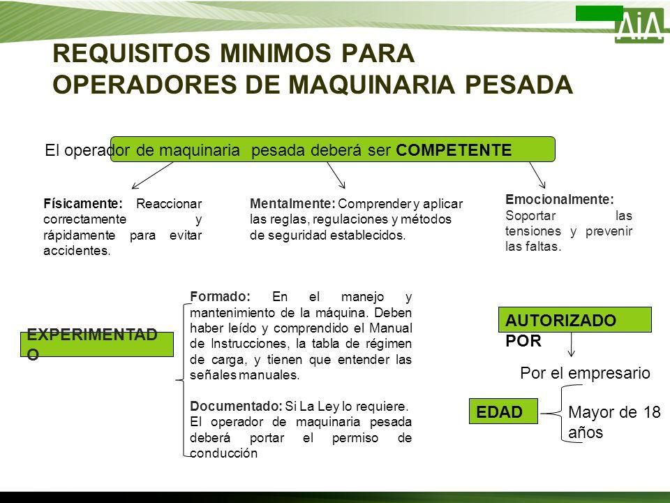 REQUISITOS MINIMOS PARA OPERADORES DE MAQUINARIA PESADA