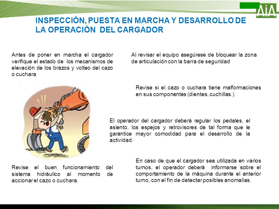 INSPECCIÓN, PUESTA EN MARCHA Y DESARROLLO DE LA OPERACIÓN DEL CARGADOR