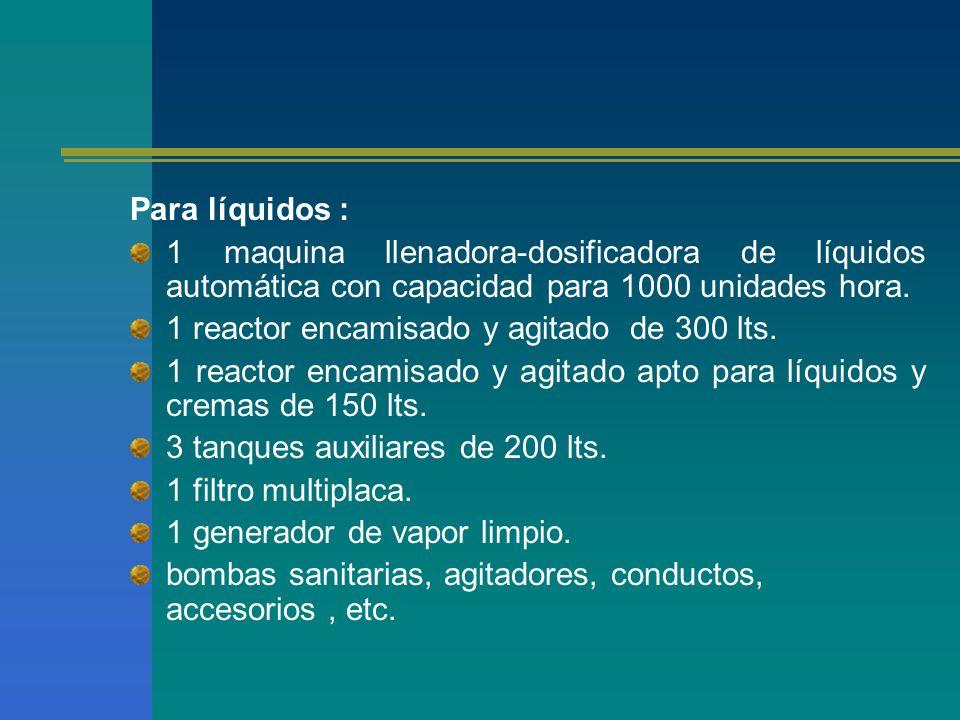Para líquidos : 1 maquina llenadora-dosificadora de líquidos automática con capacidad para 1000 unidades hora.