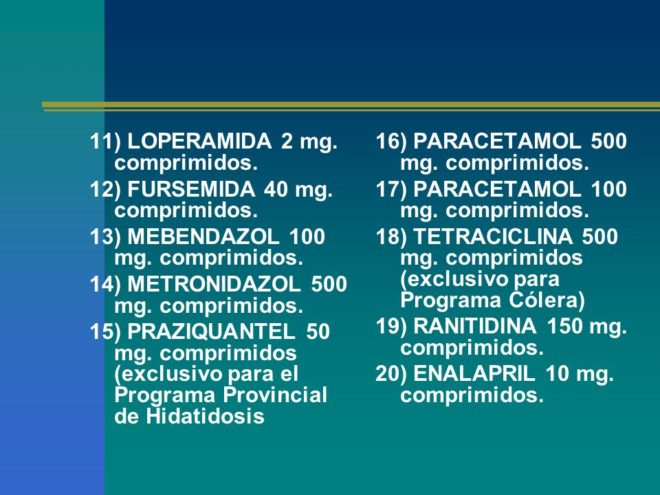 11) LOPERAMIDA 2 mg. comprimidos.
