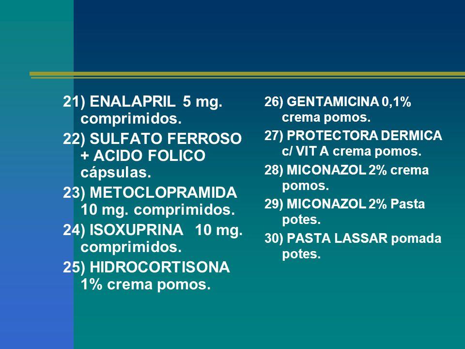 21) ENALAPRIL 5 mg. comprimidos.