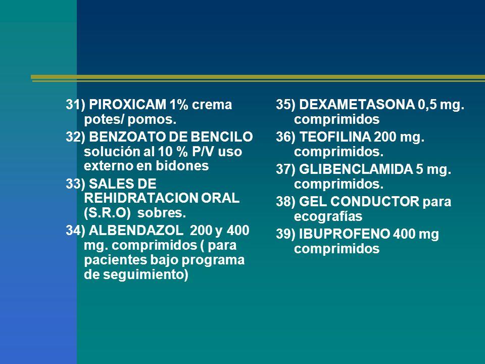 31) PIROXICAM 1% crema potes/ pomos.