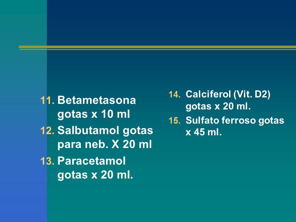 Betametasona gotas x 10 ml Salbutamol gotas para neb. X 20 ml