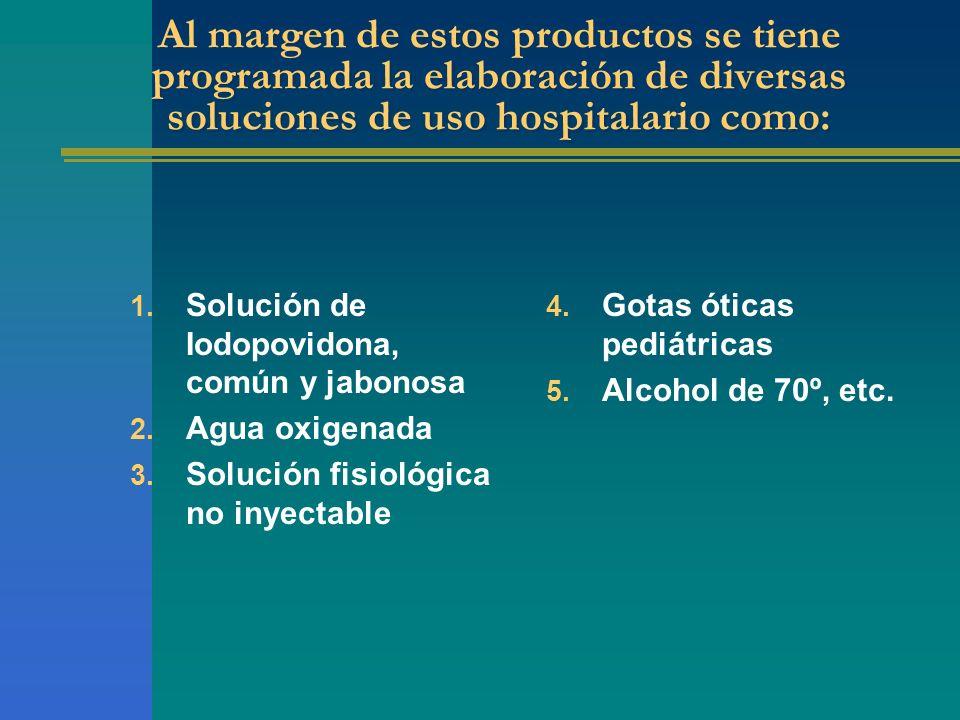 Al margen de estos productos se tiene programada la elaboración de diversas soluciones de uso hospitalario como: