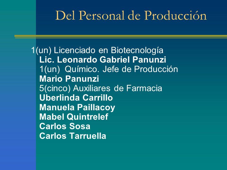 Del Personal de Producción