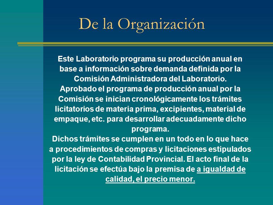 De la Organización Este Laboratorio programa su producción anual en