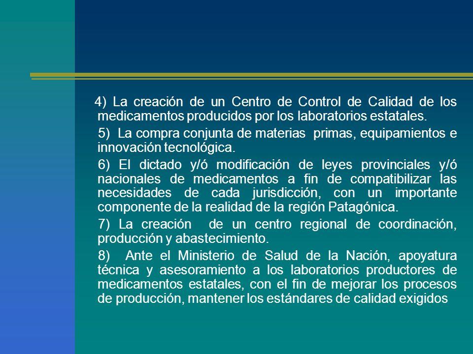 4) La creación de un Centro de Control de Calidad de los medicamentos producidos por los laboratorios estatales.