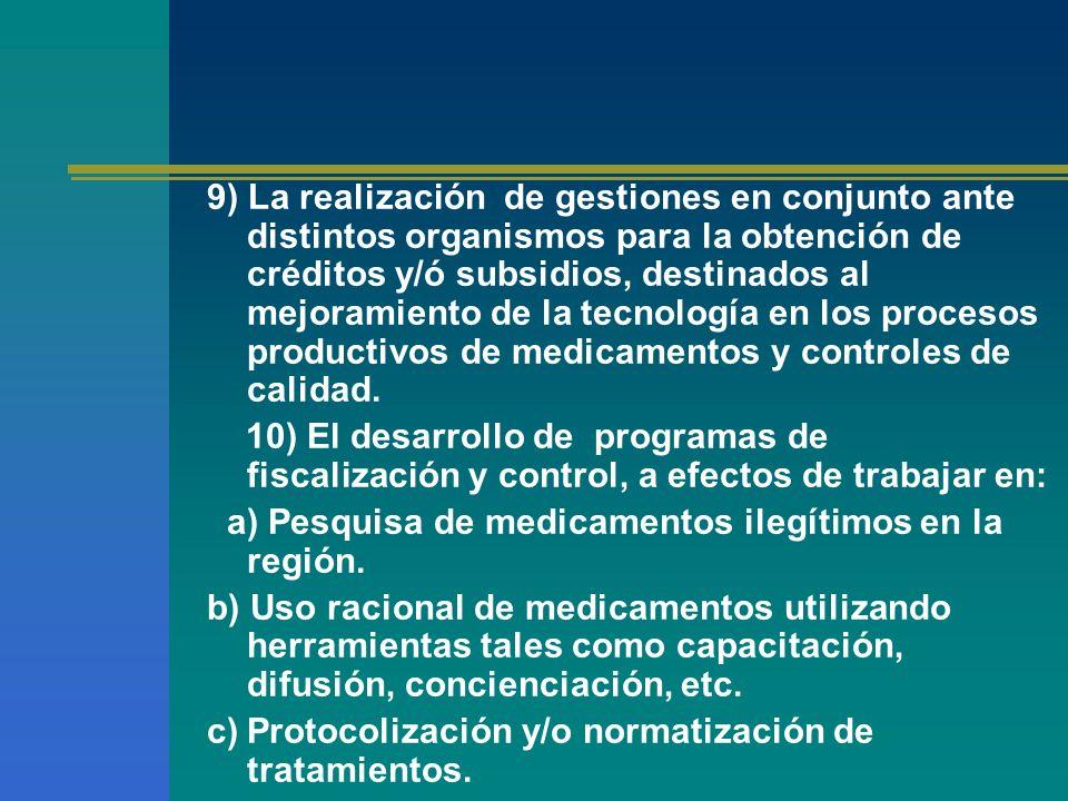 9) La realización de gestiones en conjunto ante distintos organismos para la obtención de créditos y/ó subsidios, destinados al mejoramiento de la tecnología en los procesos productivos de medicamentos y controles de calidad.