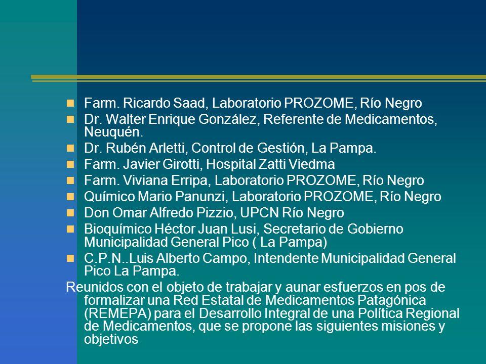 Farm. Ricardo Saad, Laboratorio PROZOME, Río Negro