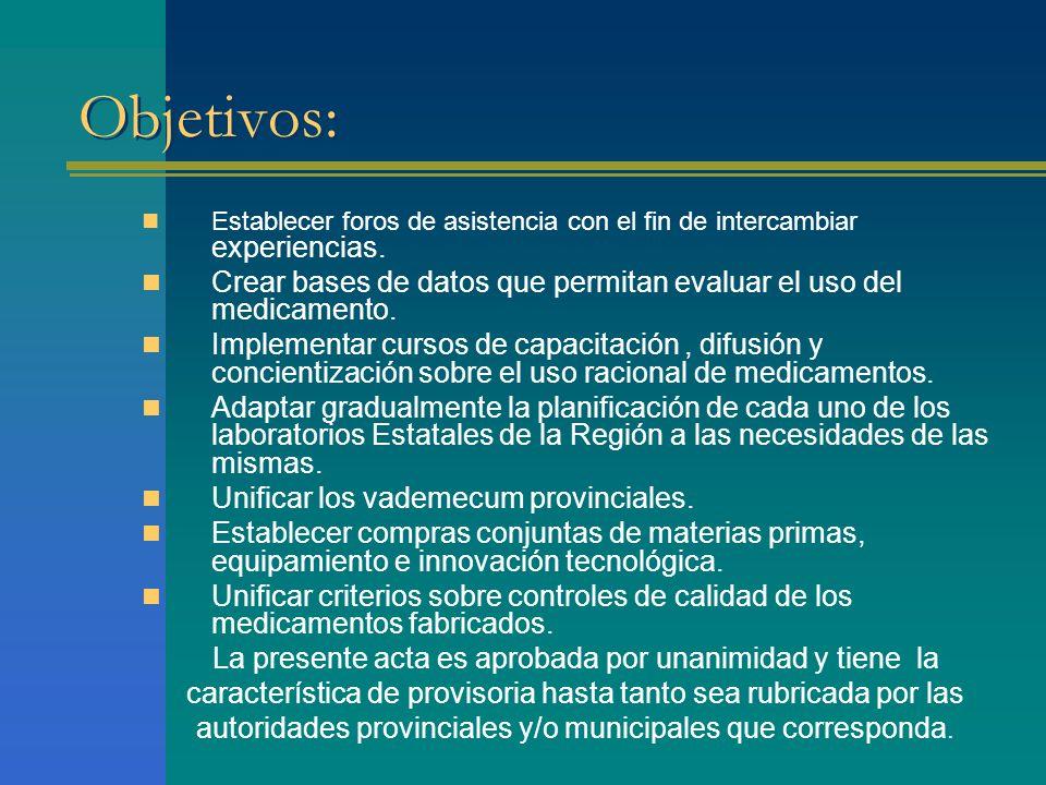 Objetivos: Establecer foros de asistencia con el fin de intercambiar experiencias. Crear bases de datos que permitan evaluar el uso del medicamento.