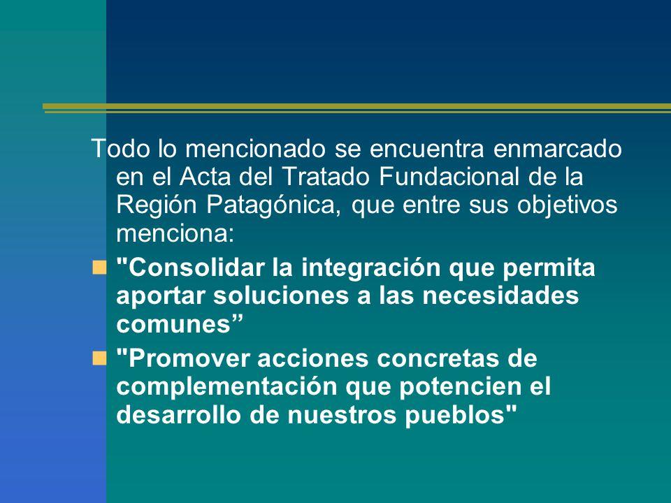 Todo lo mencionado se encuentra enmarcado en el Acta del Tratado Fundacional de la Región Patagónica, que entre sus objetivos menciona: