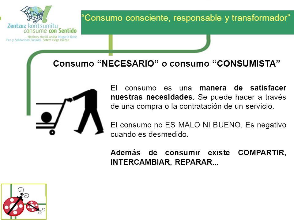 Consumo NECESARIO o consumo CONSUMISTA