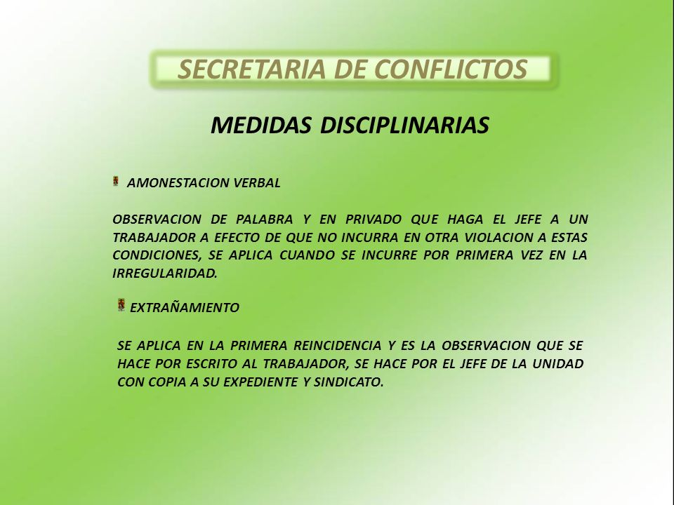 SECRETARIA DE CONFLICTOS MEDIDAS DISCIPLINARIAS