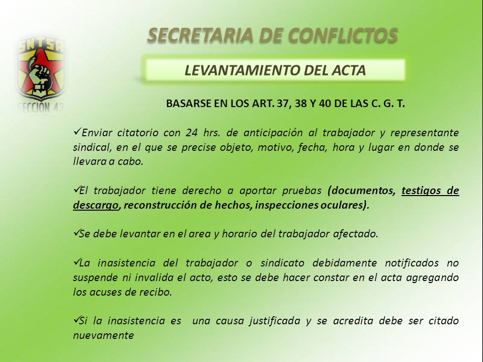 SECRETARIA DE CONFLICTOS LEVANTAMIENTO DEL ACTA
