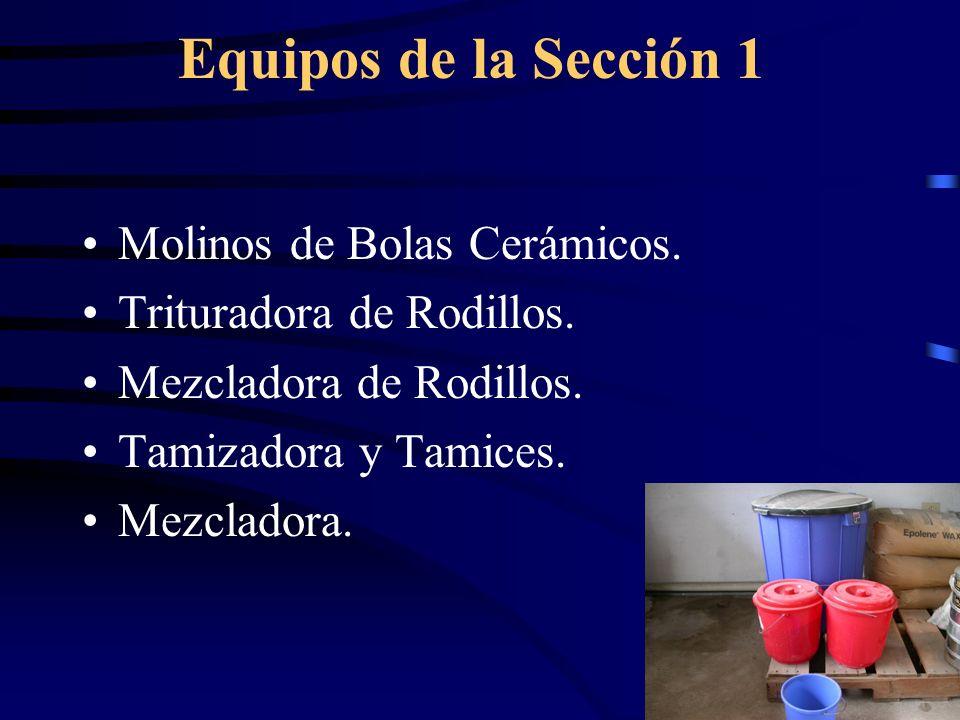 Equipos de la Sección 1 Molinos de Bolas Cerámicos.