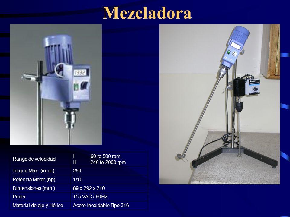 Mezcladora Rango de velocidad I 60 to 500 rpm. II 240 to 2000 rpm