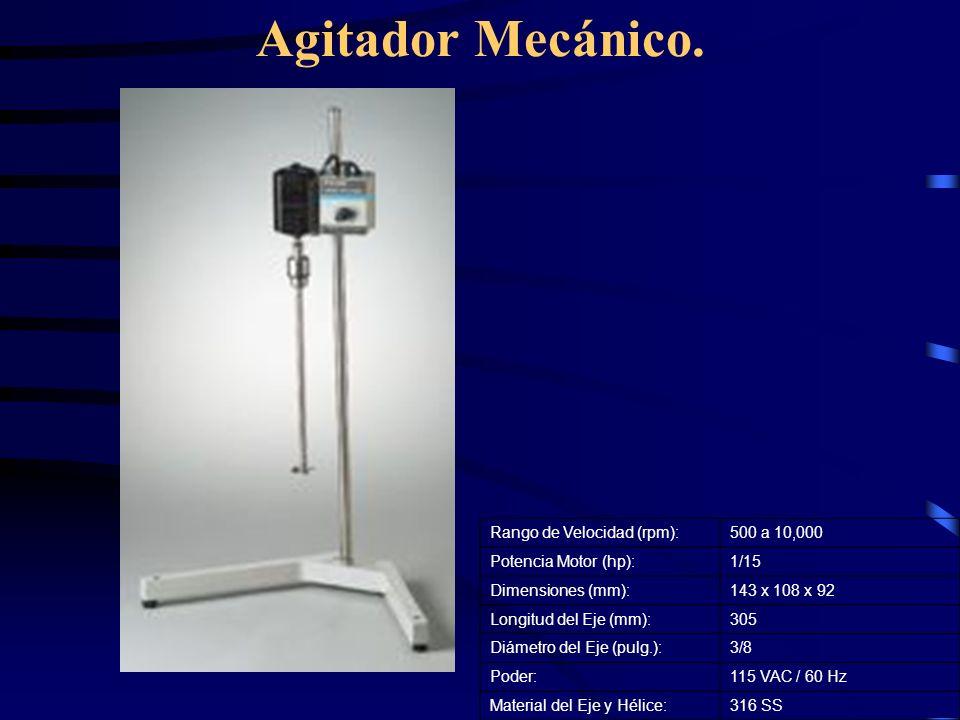 Agitador Mecánico. Rango de Velocidad (rpm): 500 a 10,000