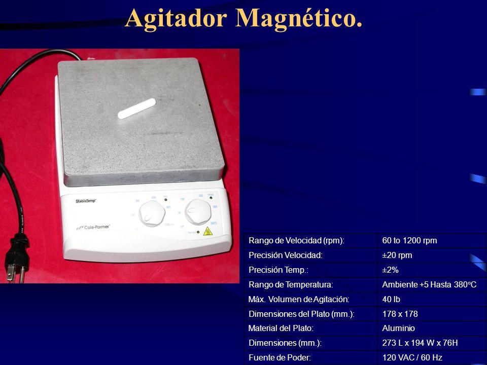 Agitador Magnético. Rango de Velocidad (rpm): 60 to 1200 rpm