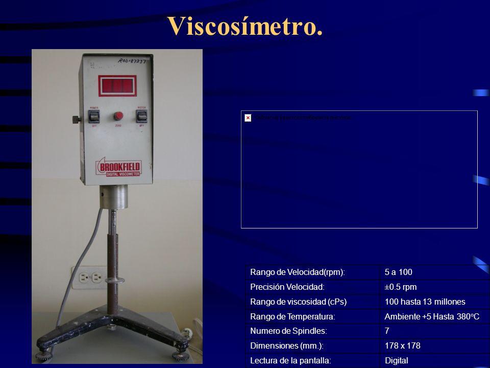 Viscosímetro. Rango de Velocidad(rpm): 5 a 100 Precisión Velocidad: