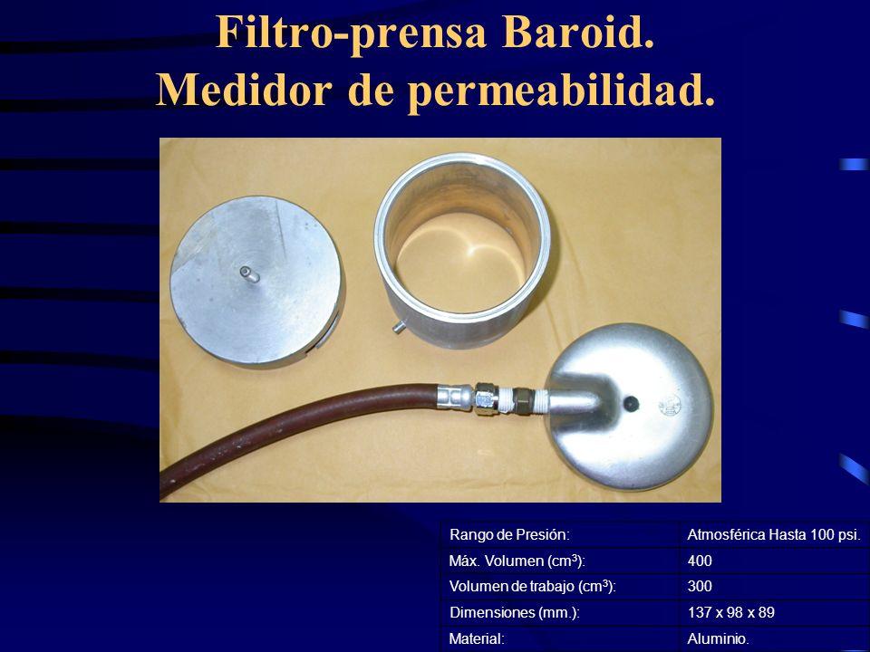 Filtro-prensa Baroid. Medidor de permeabilidad.