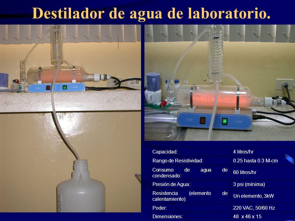 Destilador de agua de laboratorio.