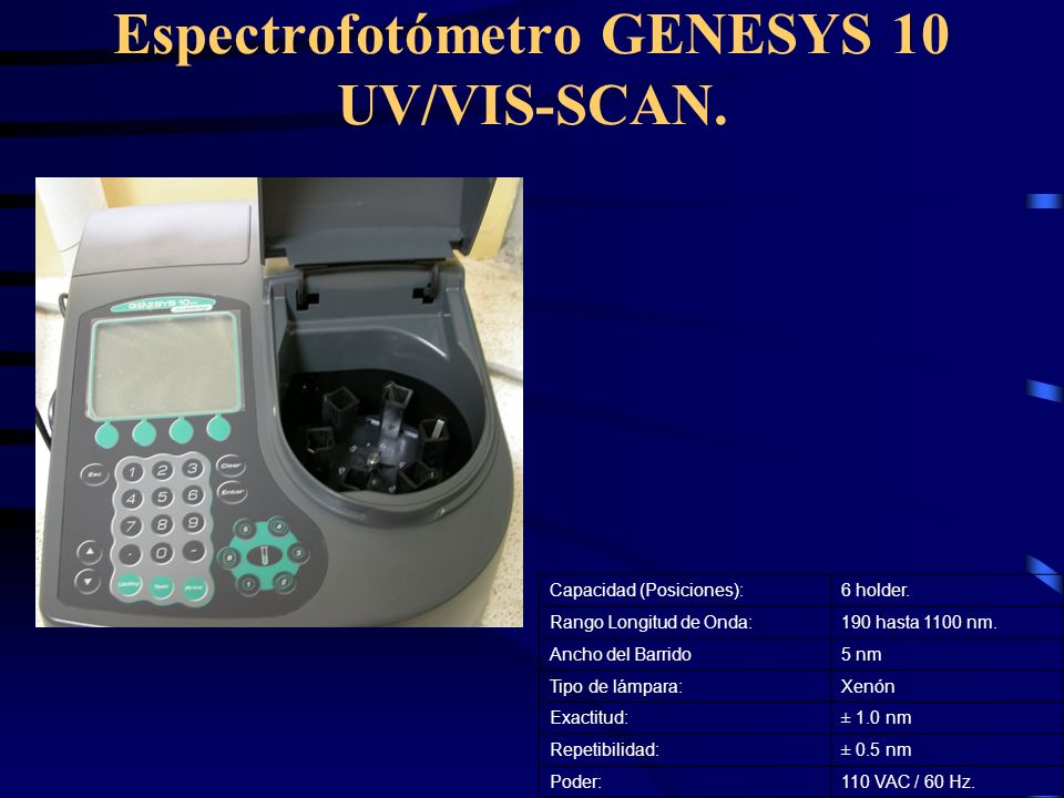 Espectrofotómetro GENESYS 10 UV/VIS-SCAN.